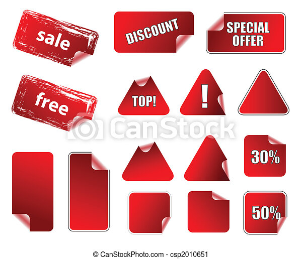 Collection of promotion vector labels. Different shapes, easy to edit, any size. Aqua web 2.0 - csp2010651