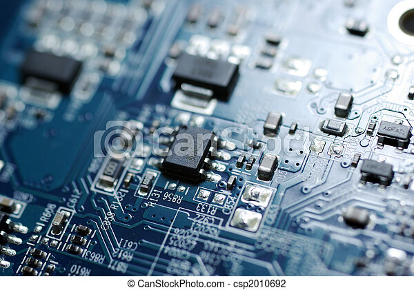 Close up photo of blue PC circuit board. - csp2010692
