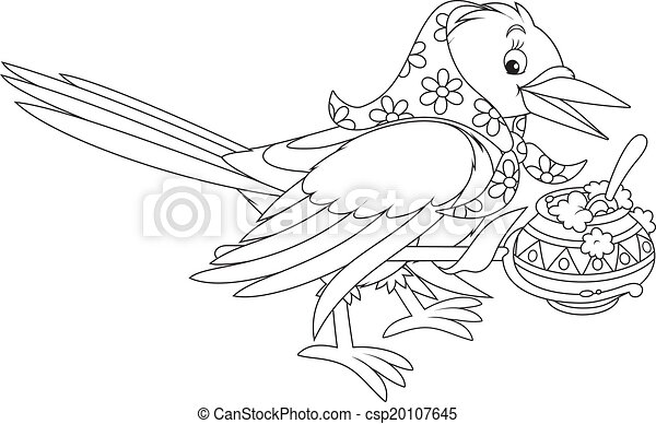 EPS Vector of Magpie cooking porridge in her pot black and white