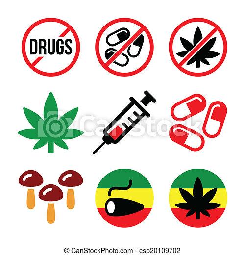 Vector Clip Art de drogas, adicción, marijuana, iconos - vector ...