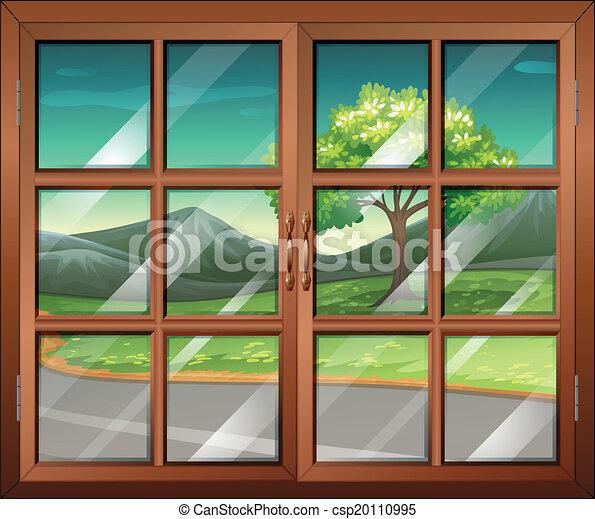 Fenster geschlossen clipart  EPS Vektoren von fenster, straße geschlossen, ansicht ...