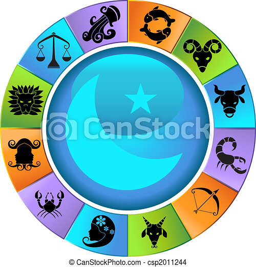 Drawing of Zodiac Animal Wheel Icons - Set of colorful wheel framed ...