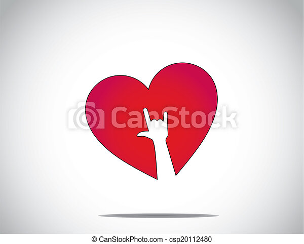 red love or heart shape icon with an i love you hand symbol art. I love you concept illustration - csp20112480