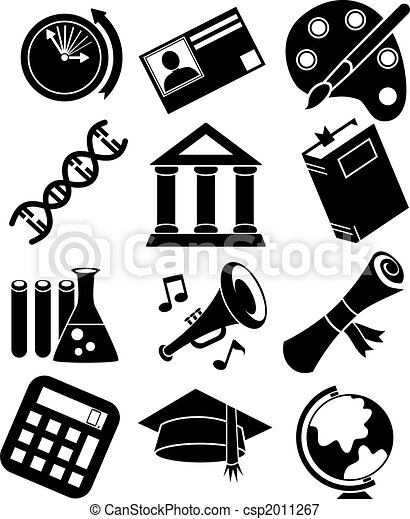 Education Icon Set Black - csp2011267