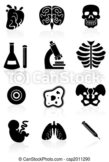 Biology Black Icon Set - csp2011290