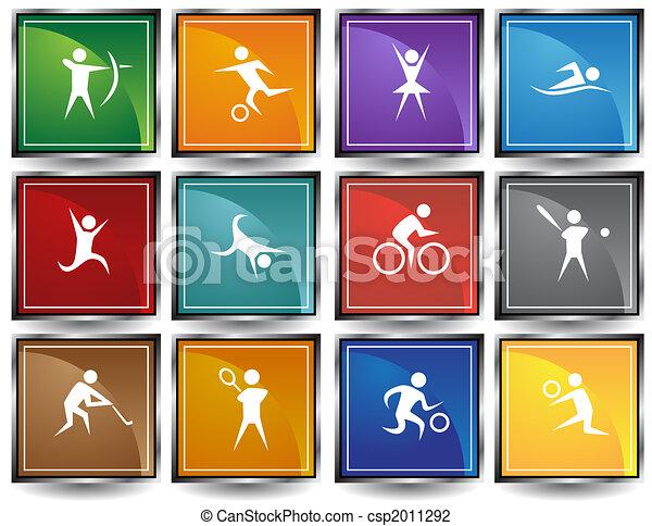 Sports Icon Set Square Frame - csp2011292