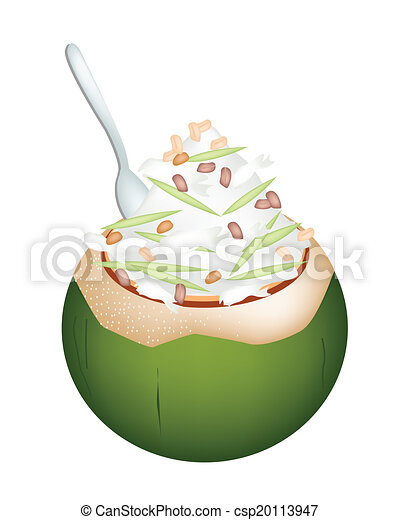 Surprising Coconut Ice Cream With Nuts And Green Rice Noodles Stock Short Links Chair Design For Home Short Linksinfo