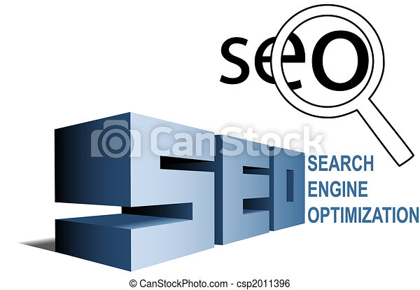 SEO search engine optimization symbols find magnifying glass - csp2011396