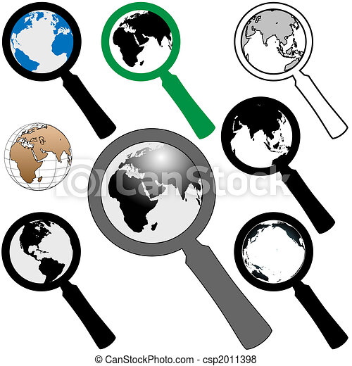 World Magnifying Glass Icon to Search Find Earth - csp2011398