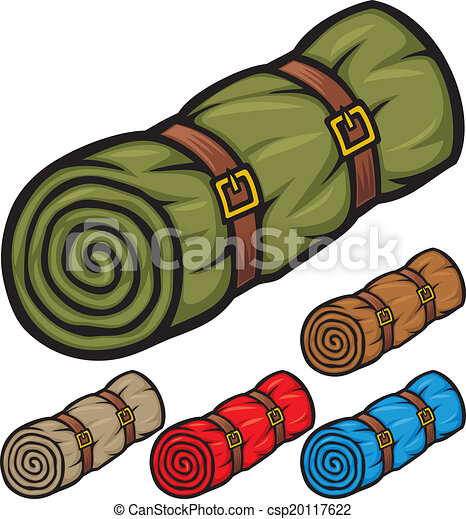 Clip Art Sleeping Bag Clipart vector illustration of sleeping bag bed roll camping bag