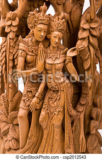 Rama and his wife Sita wood carving - csp2012543
