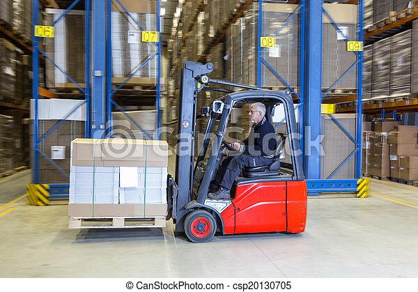 Forklift driving alongside a storage rack.