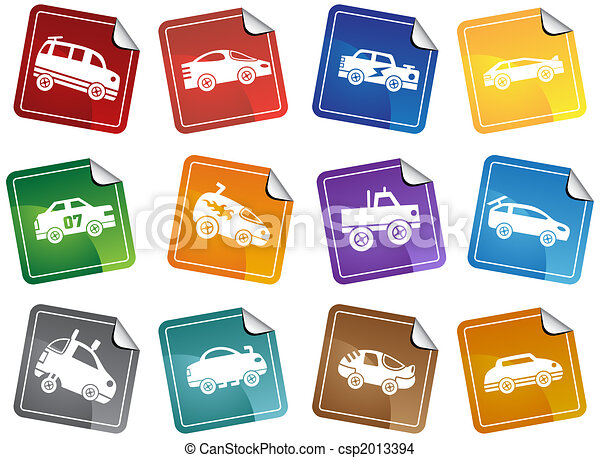Hot Rod Race Car Sticker Icon Set - csp2013394