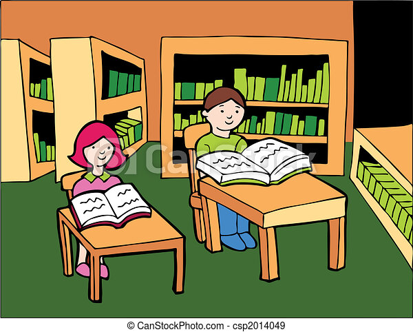 Stock Illustration Of Children Library Reading Boy And