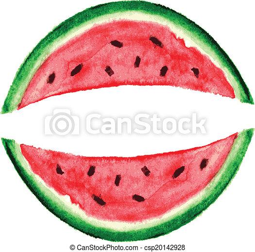 Watercolor Watermelon Slice - csp20142928