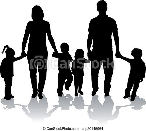 Clip art de vectores de grande familias negro siluetas - Familias en blanco y negro ...