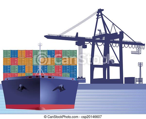 Vector clip art de barco contenedores barco con contenedores csp20146607 buscar clipart - Contenedores de barco ...