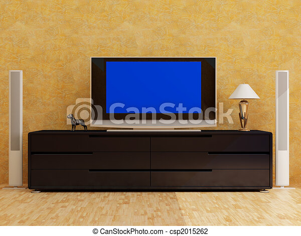 home interior with plasma tv - csp2015262
