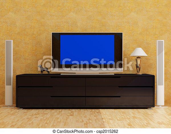 home interior with plasma tv - csp2015262