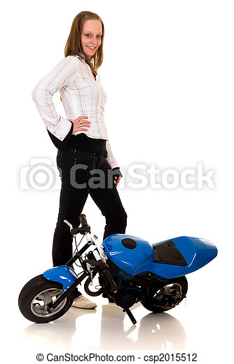 Youngster with her pocketbike - csp2015512