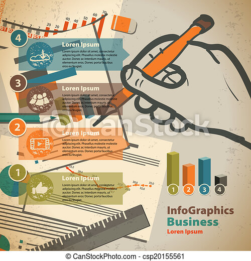 Clip Art Vector of Template for infographic with writing hand and ...