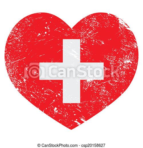 Switerland heart retro flag - csp20158627
