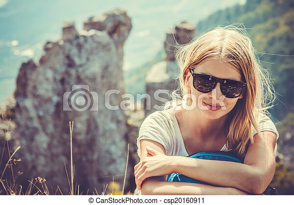 Woman Traveler hiking in Mountains with beautiful summer landscape on background mountaineering sport lifestyle concept - csp20160911