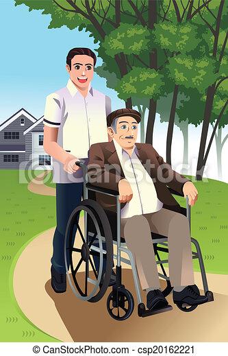 Illustration vecteur de fauteuil roulant pousser for Aide personnes agees maison retraite