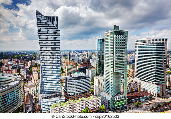 Warsaw, Poland. Downtown business skyscrapers, city center - csp20162533