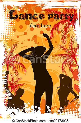 Grunge background with dancing people - csp20173038