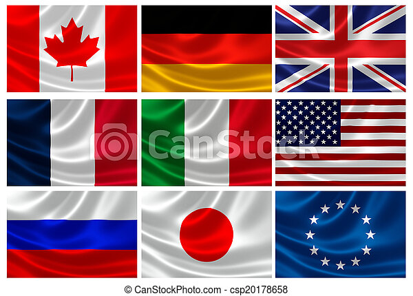 Flags of the G8 Industrialized Countries and EU - csp20178658