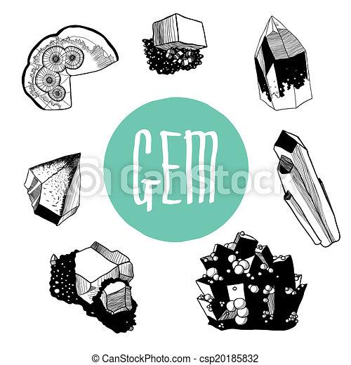 Vektor schwarz weißes satz mineralien stock illustration