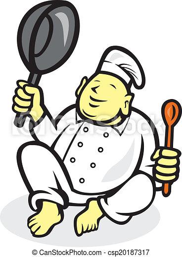 Vector Clip Art of Fat Buddha Chef Cook Sitting Cartoon ...