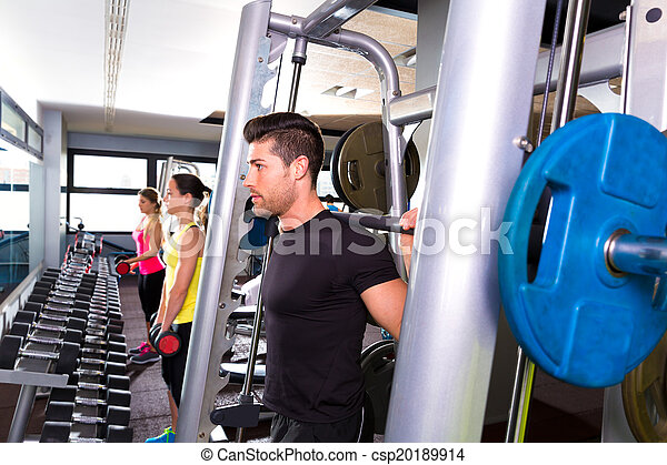 Fitness gym man multipower system weightlifting