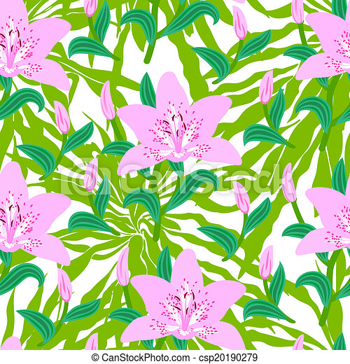 Floral pattern with tropical big pink lily flowers - csp20190279