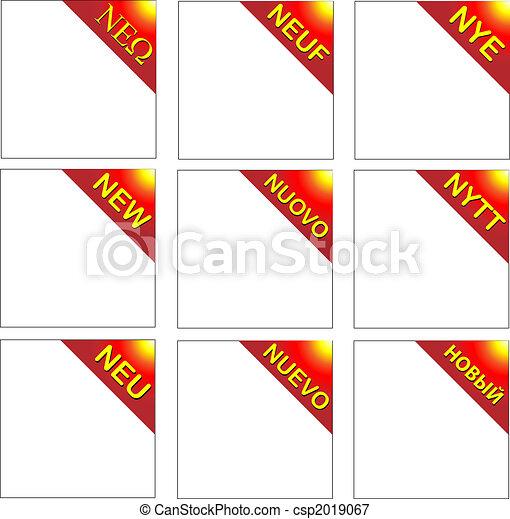 New Multilingual red corner ribbon - csp2019067