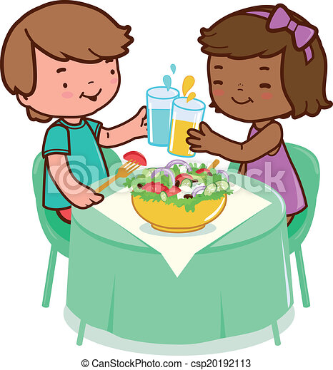 Vector Clip Art of Children eating healthy food - Two children ...