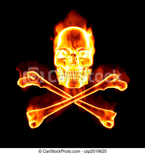 fiery skull and cross bones - csp2019625