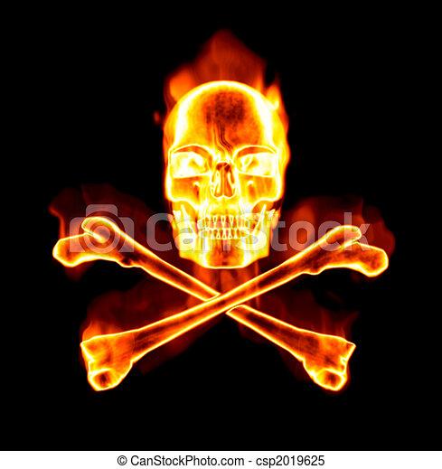 fiery skull and cross bones - csp2019625