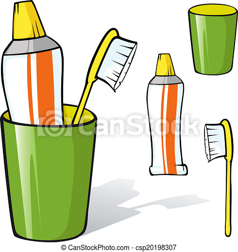 Vector Clipart of toothbrush and toothpaste in a cup- illustration ...