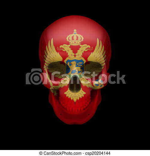 Montenegro flag skull - csp20204144