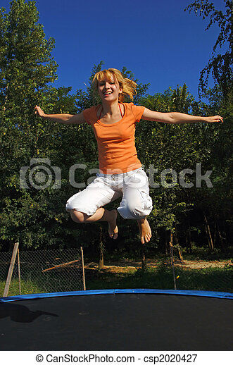 Girls on trampolines think, that