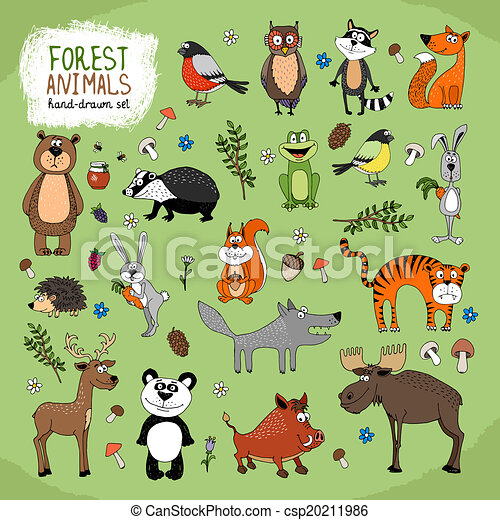 Forest Animals hand-drawn illustration - csp20211986