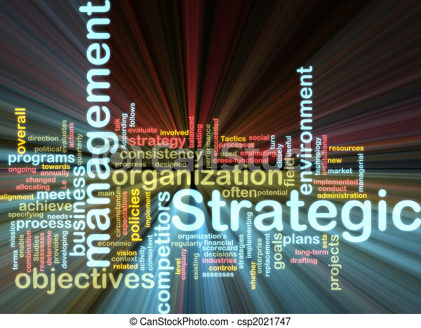 Strategic management wordcloud glowing - csp2021747