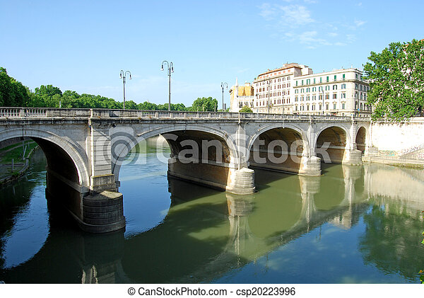 Bridges over the Tiber river in Rome - Italy - csp20223996