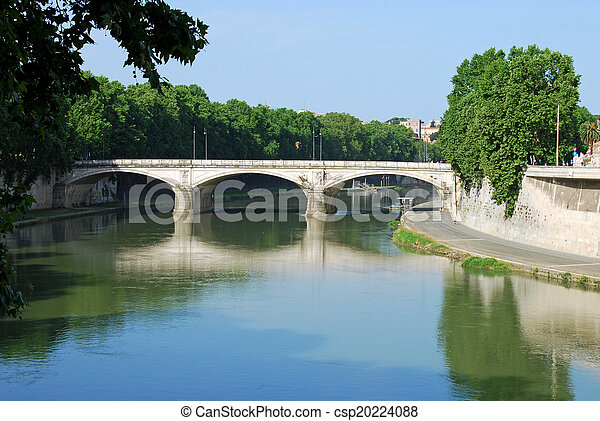 Bridges over the Tiber river in Rome - Italy - csp20224088