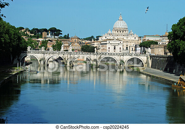 Bridges over the Tiber river in Rome - Italy - csp20224245