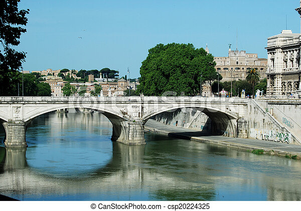Bridges over the Tiber river in Rome - Italy - csp20224325