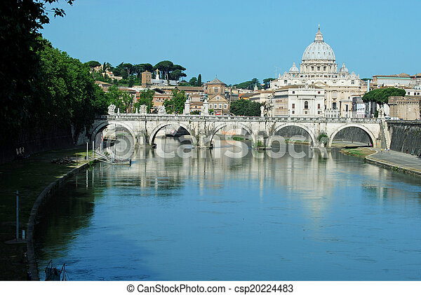 Bridges over the Tiber river in Rome - Italy - csp20224483