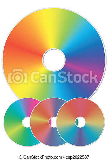 Compact disk with rainbow reflections. - csp2022587